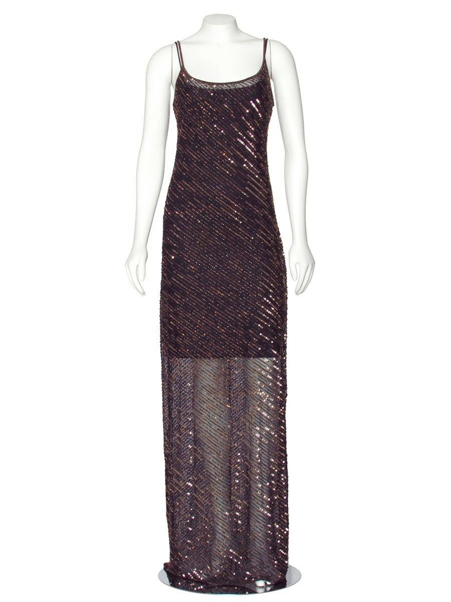 PRICE REDUCED  Escada Bronze Beaded Sequin Evening Gown Dress sz M 6   8