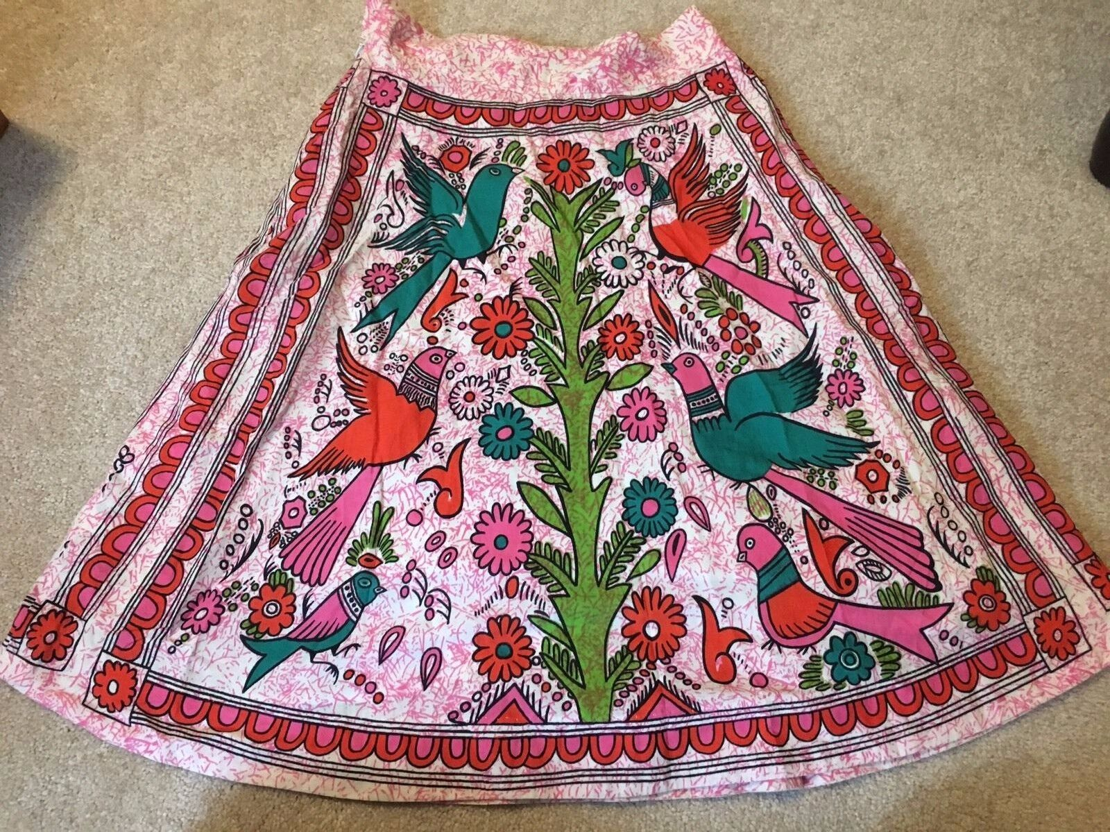 148 Anthropologie Pink Printed Floral Bird Full Knee Length Skirt 4