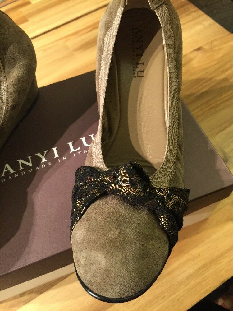 Anyi Lu Gray Suede Wedge Antiqued leopard Bow Slip Sz10,41UK On Schuhes Sz10,41UK Slip  NWB 5e96f8