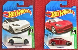 HOT-WHEELS-TESLA-MODEL-3-bianco-e-rosso-set-di-2-Auto-Giocattolo-Mattel-Nuovo-di-Zecca