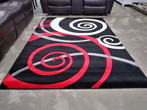Details About Exclusive Hand Carved Rugs 5x8 Modern Contemporary Red Black White Area Rug New