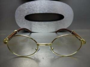 479951099a7e Mens CLASSY MODERN Clear Lens EYE GLASSES Oval Gold    Wood Wooden Effect  Frame