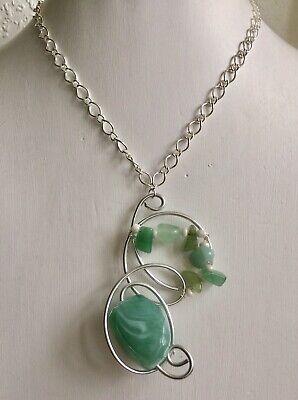 Fizzona Lagenlook Designer Silver//Aqua Twisted Wire Necklace Wow