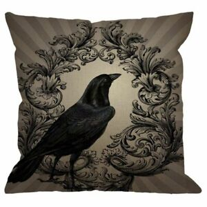 Vintage-Crow-Black-Flower-Linen-Square-Cushion-Cover-Standard-Pillowcase-fo