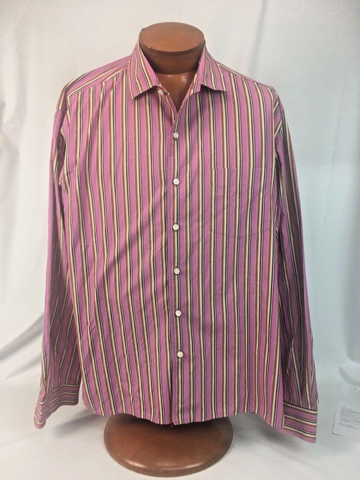 Ralph Lauren  Purple Label Purple Stripe Shirt Size XXL 2XL ITALY