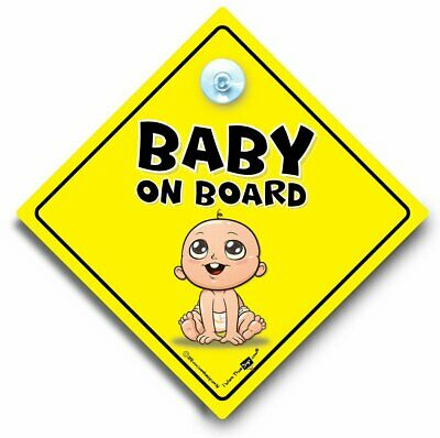 car window sign with suction cups Cute Smiling Baby BABY ON BOARD