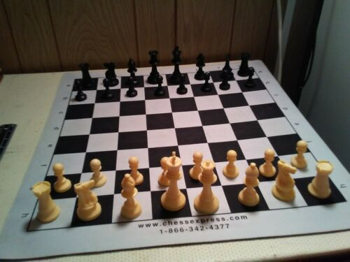 "Chess Set Indoor Outdoor 20x20/""Foam Board 3.5/"" King Staunton Style Weighted NICE"