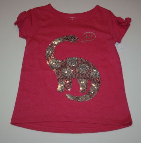 """New Carter/'s Girls 3T 4T 5T Dinosaur in Sequins /""""Hi/"""" Pink Top with Bow Sleeves"""