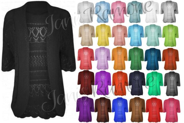 New Womens Crochet Knitted Bolero Shrug Open Front Cardigan Top Size UK 16-30