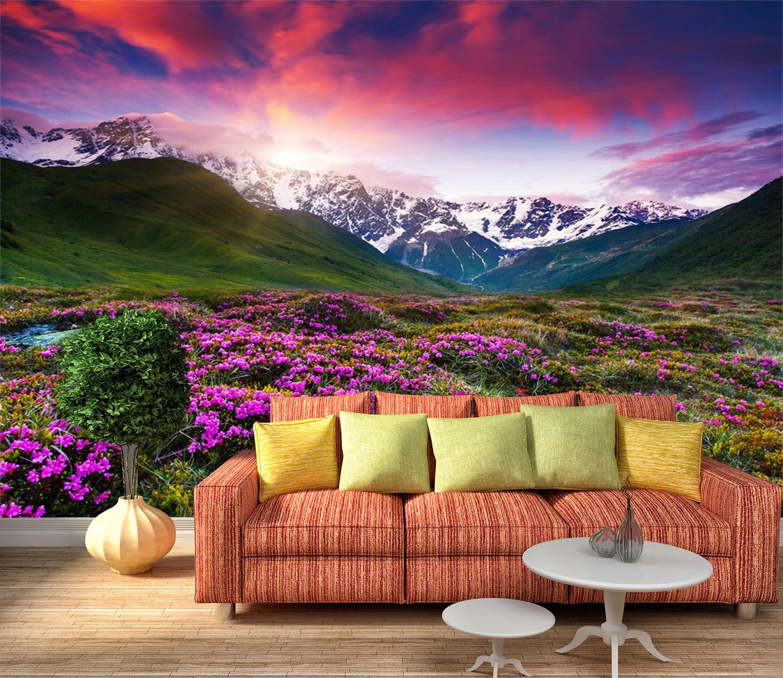 3D Mountains Flowers 3979 Wallpaper Decal Dercor Home Kids Nursery Mural Home