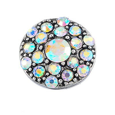1PC JM Snap Mini Button Fit DIY Chunk Bracelet Rainbow Crystal Gypsophila 13mm