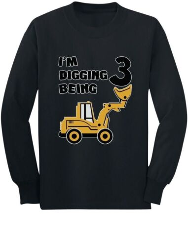 3rd Birthday Bulldozer Construction Party Toddler//Kids Long sleeve T-Shirt 3 Old