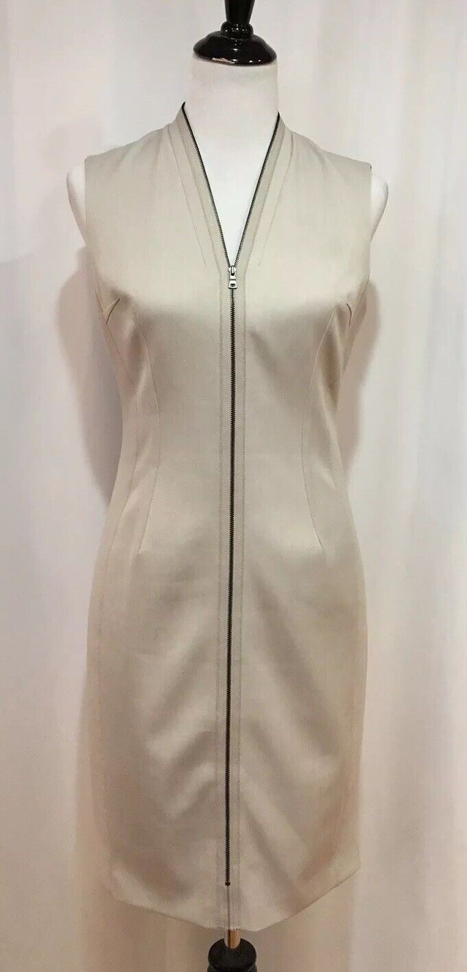 T Tahari Beige Zip Front Sleeveless Sheath Dress, Größe 6, NWOT