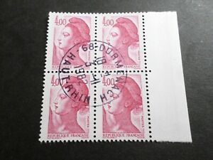 FRANCE BLOC timbres 2244 LIBERTE' DELACROIX, oblitéré 1982 cachet rond, QUARTINA