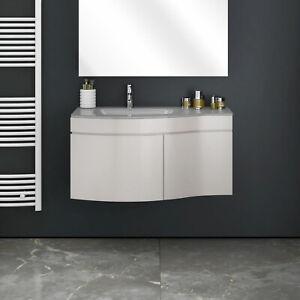 Dettagli su Mobile bagno sospeso 80 cm top e lavabo in cristallo doppia  anta colore tortora