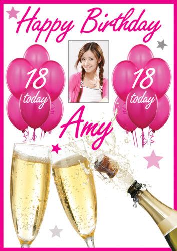 Gran Cumpleaños Cartel Banner Personalizado Cualquier Color nombre tema texto Foto edad
