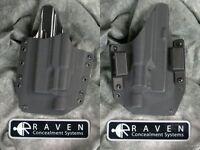 Left Handed Raven Glock 19 23 32 Surefire X300 Light Kydex Holster 9 40
