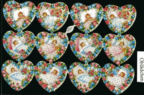 mit Logo ! # GLANZBILDER # Krüger 98-13 Herzen mit Blumenrand 12 süße Baby