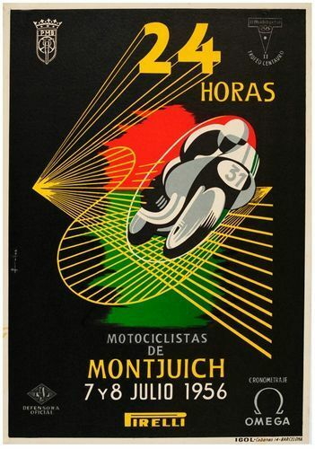 Vintage 1956 Spanish Montjuich 24 Hour Motorcycle Race Poster Print A3//A4