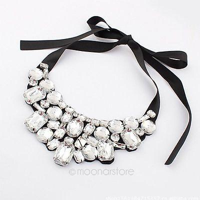 New Fashion Charm Rhinestone Chain Crystal Choker Chunky Statement Bib Necklace