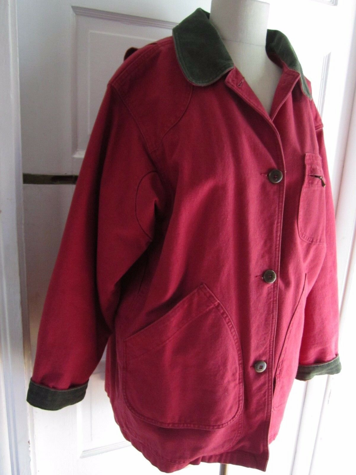 Womens LL Bean Canvas Corduroy Trim Plaid Flannel Removeable Liner Barn Coat M