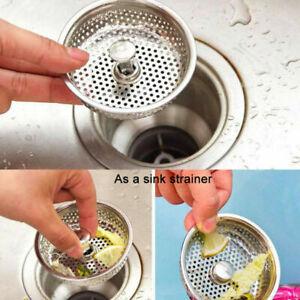 Kueche-Edelstahl-Waschbecken-Abwasser-Sieb-Abfluss-stecker-Korb-x-Stopfen-D-X8D1