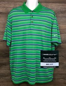 NIKE-GOLF-Mens-Dri-Fit-Green-Blue-Striped-Short-Sleeve-Golf-Polo-Casual-Shirt-XL