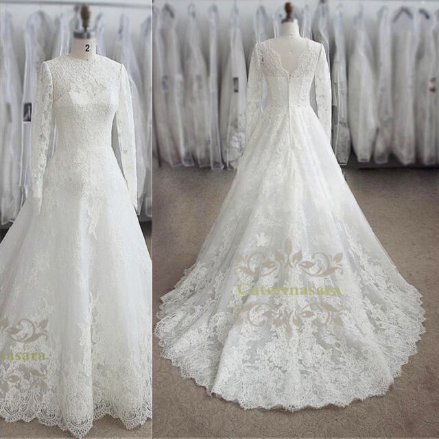 French Lace Jewel A Line Wedding Dress High Collar Long Sleeves Bridal Gown For Sale Online,Wedding Reception Simple Nikkah Dresses For Bride