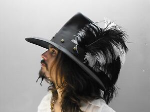 2f2aab93823 Image is loading Conquistador-black-white-leather-hat-pirate-feather-costume -