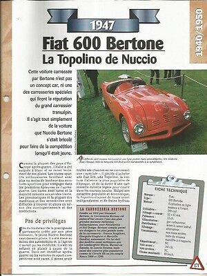 Voiture Fiat 600 Bertone Fiche Technique Auto 1947 Collection Car