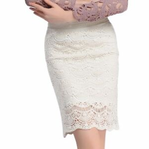 108ade0db13 Women Lace Hollow Bodycon Pencil Skirt Midi Length High Waist Formal ...