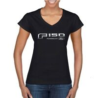 Ladies Ford F-150 Powered By Ford Logo 100% Cotton Black Tee Shirt