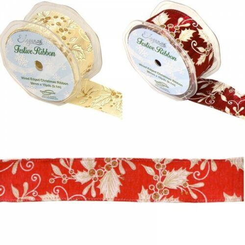 Eleganza 38mm Wired Edge Ribbon Holly Berries Mistletoe Christmas Xmas