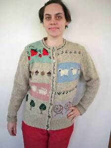 Sweater Stitch Granny WOOL WOOLRICH 80s Blend Ragg Vintage Details Cross Cardigan M about qBHXwPWxO