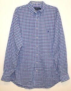 Polo-Ralph-Lauren-Big-Tall-Mens-3XLT-Blue-Red-Plaid-Button-Front-Shirt-NWT-3XLT