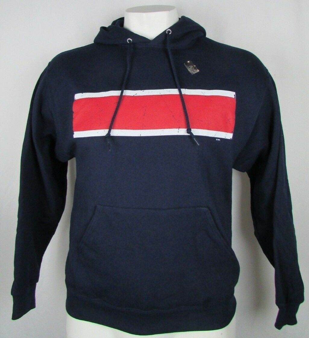 Reebok Hooded Sweatshirt Men's Navy bluee Red White Stripe L