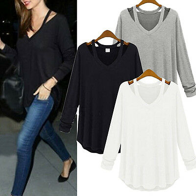 Women V-neck Plus Size Tops Loose Long Sleeve T-Shirt Casual Blouse Eyeable