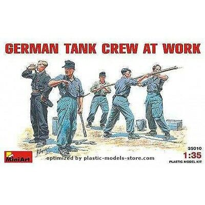 PLASTIC MODEL FIGURES GERMAN TANK CREW AT WORK WWII 1/35 MINIART 35010
