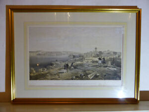 Antique-Engraving-SEBASTOPOL-FORT-NICHOLAS-1855-Crimean-War-Lithograph-Veduta