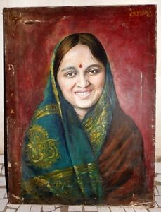 Antique-Rare-Collectible-Beautiful-Indian-Lady-Hand-Oil-Canvas-Painting