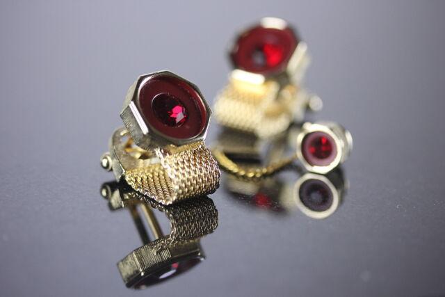 Baskin Red Faux Gem Mesh Cufflinks & Tie Tack Boxed Set Wrap Around Mens Jewelry