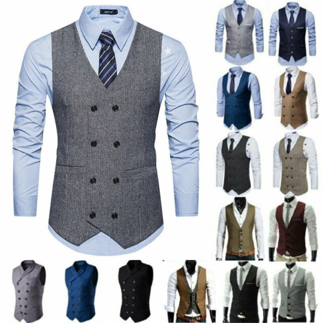Mens 3pcs Tweed Formal Suit Herringbone Blazer Waistcoat Trousers Peaky Blinders