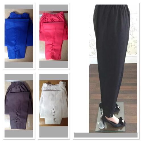 Ladies Pakistano pantaloni di cotone elastico in vita pulsante Dettagli si adatta 16 a 18