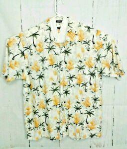 Nautica Mens Hawaiian Sz XL Button Front Short Sleeve Shirt Cactus Palm Tree