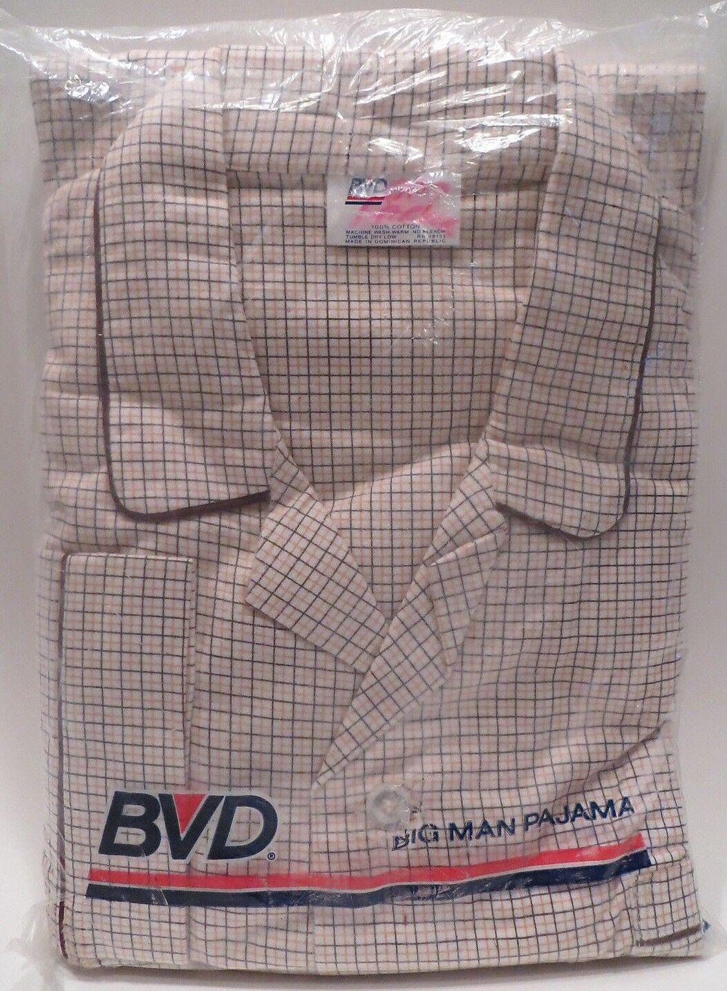 Vtg BVD Big Man Pajamas LS Shirt Pant Set Plaid Sz F 52-54 Chest Unworn
