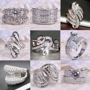 925-Sterling-Silver-Jewelry-White-Topaz-Men-039-s-Wedding-Ring-Women-Bridal-Gift-Hot