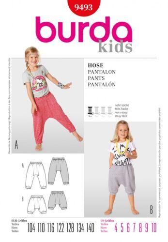 BURDA. GRATIS UK P /& P-BURDA per bambini facile Sewing Pattern 9493 Harem Pants