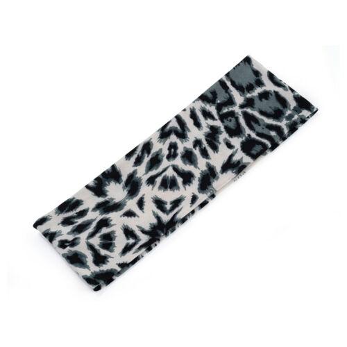 Negro Y Blanco Tejido estampado de leopardo estiramiento elástico diadema de pelo Head Band