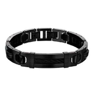 ab3906e4b71e3 Details about Inox Men'S Stainless Steel Matte Finish IP Black Bracelet