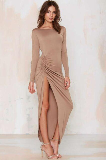 LIONESS - Ladies medium beige long sleeve low back maxi dress with side split